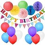 カラフル誕生日パーティー 女の子 飾り付け ミックス色 ベビーシャワー 100日 出産祝い ペーパーフラワー ハニカムボール 紙提灯 バナー ガーランド 28個