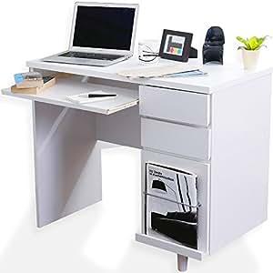 デスク パソコンデスク 収納付きデスク マガジンラック キーボードスライダー 幅90cm ホワイト