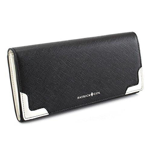 パトリックコックス(PATRICK COX) 財布 長財布 ブラック(フロント下部に白) PATRICK COX pxmw5st2-10 メンズ 紳士
