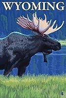 ムースat Night–Wyoming 12 x 18 Art Print LANT-14220-12x18