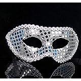 HuaQingPiJu-JP フラットヘッドスパイラルサイドマスクハロウィンパーティー仮面ライダーマスク(ホワイト)