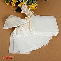 使い捨て茶ハーブフィルターバッグ100ピース空ティーバッグ巾着ルースティーバッグ(5.5×6cm)