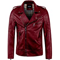 chouyatou Men's Vintage Asymmetric Zip Lightweight Faux Leather Biker Jacket