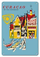 22cm x 30cmヴィンテージハワイアンティンサイン - カリブ海のキュラソー - ビンテージな世界旅行のポスター c.1950s