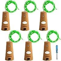 6個セット コルクライト AFUNTA 78インチ / 2 m ナイトライト 文字列ライト ボトルライト LED ライト LEDストリングライト イルミネーション ロマンチック グリーン