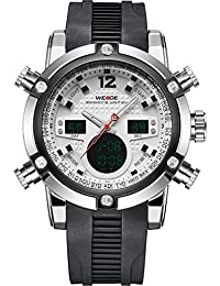 WEIDEラバーバンドクォーツスポーツmuti-functional腕時計アナログ&デジタル時間表示(ホワイト)