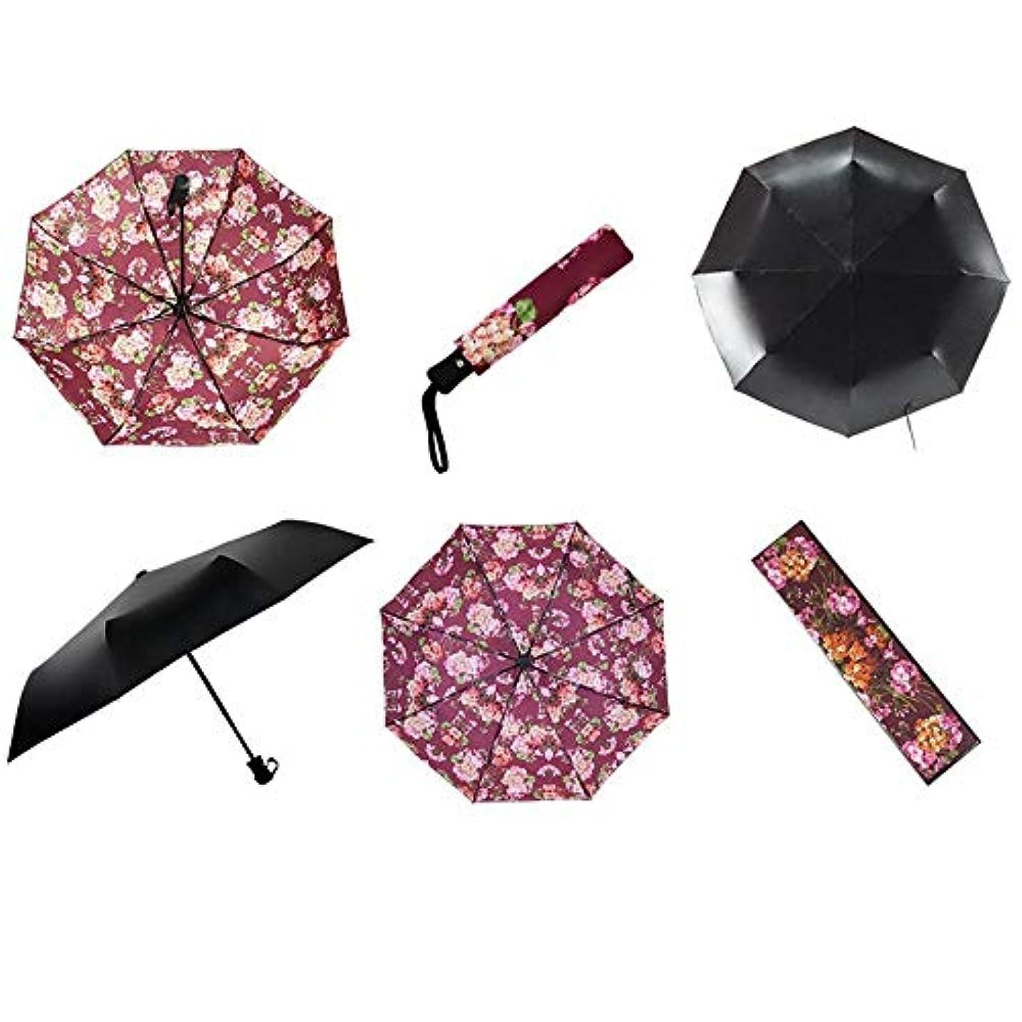 スカルク世論調査削除するChuangshengnet レトロな日傘自動ラバースタンプ折りたたみ傘 (Color : Automatic roseo)