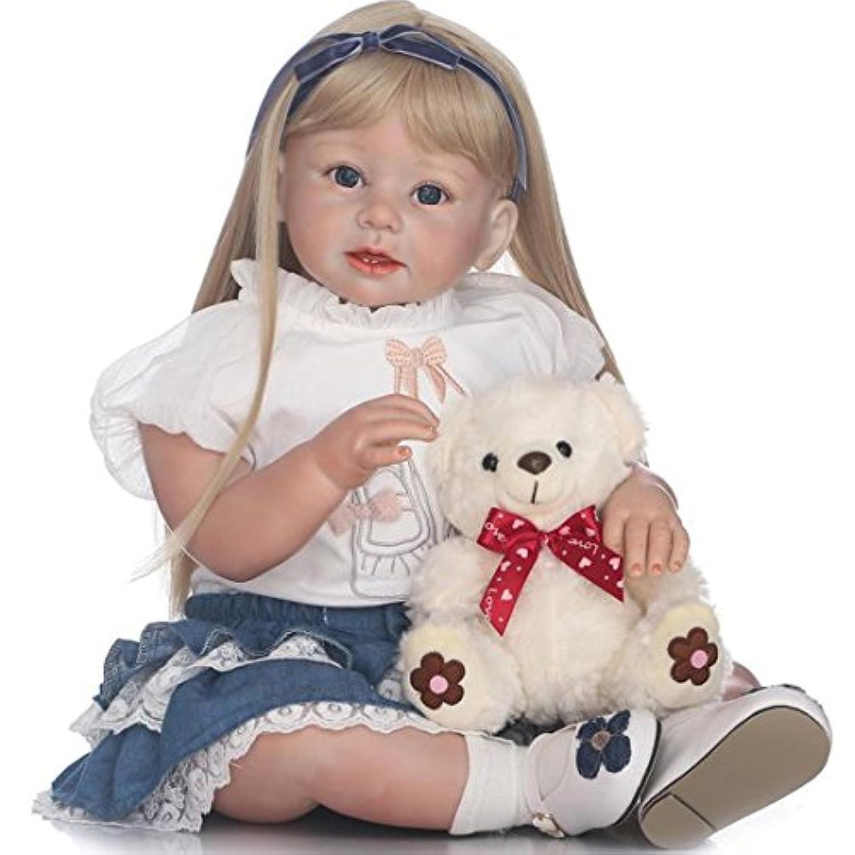 27インチLifelike Rebornベビー人形ロングゴールドヘアガールズベビー人形ビニール子供プレゼント