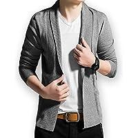 (プチプライム) Petit Prime メンズ カーディガン ジャケット風 襟付き かっこいい 人気 オシャレ 薄手 羽織る 着回し アウター トレンド カジュアル ファッション 長袖 上品 シンプル 3色展開 通学 春 通勤 ロング 大きいサイズ