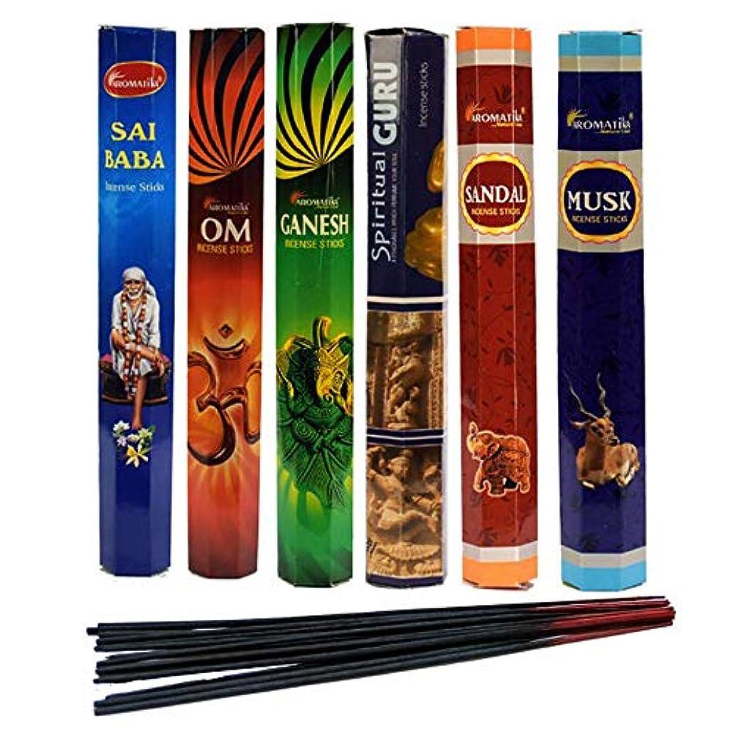 宙返り致命的なエラーaromatika Incense Sticks Best Sellers Spiritual Hexa 6ボックスX 20スティック、コンボパック、合計120 Sticks ( 120 Sticks )