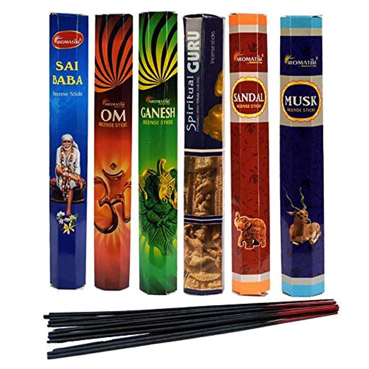 金属セミナー変形するaromatika Incense Sticks Best Sellers Spiritual Hexa 6ボックスX 20スティック、コンボパック、合計120 Sticks ( 120 Sticks )