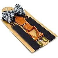 Kids Suspenders And Bow Tie Set Adjustable Suspender Bowtie Necktie Sets Boys And Girls (Black + Plaid Bowtie)