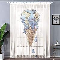 2枚100x198cm 装飾 レースカーテン 紫外線カット 断熱効果 アイスクリームの装飾、アイスクリームグローブプラネット地球風味生態学的なグラフィック装飾、ライトキャラメルバイオレットブルー