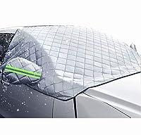 車のフロントガラスの雪のカバー、厚い雪と霜のない暖かい冬の半分のカバー、ほぼすべての車両に適しています(シルバー)