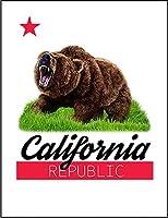 【グリズリーベア 熊 クマ カリフォルニア】 ポストカード・はがき(白背景)