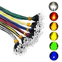 120個 6色 (20個×6色) 超高輝度 12V 配線済みLEDダイオードライト 簡単色分け済み配線済みLEDライト - ホワイト レッド ブルー グリーン イエロー 温白色 6色