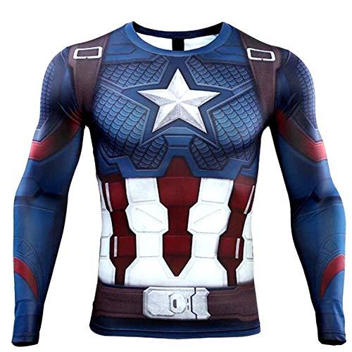 [SCGEHA] スーパーヒーロー キャプテン コスプレ Tシャツ 長袖 アメコミ 最強ヒーロー アメリカ 速乾 黒・オレンジ風船2個セット(XL)
