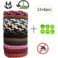 Awhao Braided Leather Bracelet Children PU Bracelet 12 Pack Two Color Waterproof Wristband with 6pcs Stickers
