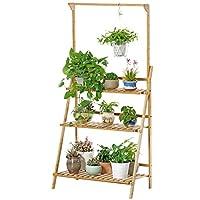 植物ディスプレイスタンド、折り畳み竹フラワースタンド、バルコニーハンギングバスケットプラントストレージラック ( サイズ さいず : L70CM*40CM*96CM )
