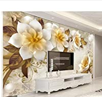Weaeo カスタム壁紙3D三次元エンボス茶の花ヨーロッパのレトロテレビの壁の壁の装飾3D壁紙-200X140Cm