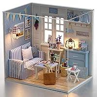 LEDGOO ドールハウス、手作りキットセット、ミニ家具工芸品キット、ミニチュアコレクション、付属LEDライト、音楽ボックス、防塵カバー blue