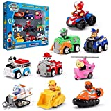 CHOUREN Paw Patrol, Gift Pack of 6-9 Collectible Vehicles Mighty Pups Super Paws Chase's Powered Up Transforming Vehicle (Col