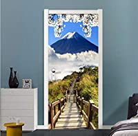 Mingld 家の装飾3Dステレオ藤山風景ドアステッカーリビングルームダイニングルーム防水壁画壁紙現代ビニールステッカー-120X100Cm