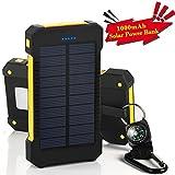 GRDE 10000mAh大容量ソーラーパネル モバイルバッテリー 二つの充電方法旅行 キャンプの必須の良品(ブラックとイエロー)