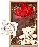 nicoly ソープフラワー 花束 ブーケ テディベア セット プレゼント ギフト お祝い (赤)