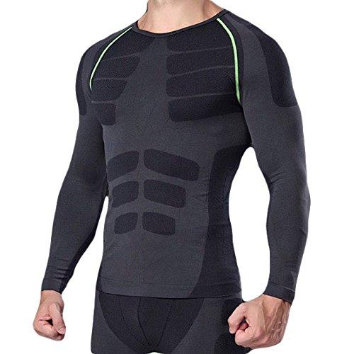 メディカルサポート 男性用機能性肌着 着圧スポーツインナー 加圧Tシャツ 姿勢矯正 猫背解消 基礎代謝を上げて脂肪燃焼 長袖 ブラック/グリーン M
