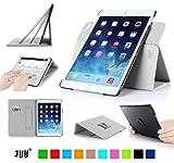 iPad Air2 ケース,Fyy® 高級PUレザーケース スタンド機能付き マグネット開閉式 タッチペンホルダー/伸縮性ハンドストラップ/カードスロット付 360度回転可能 &解体可能タイプ ホワイト