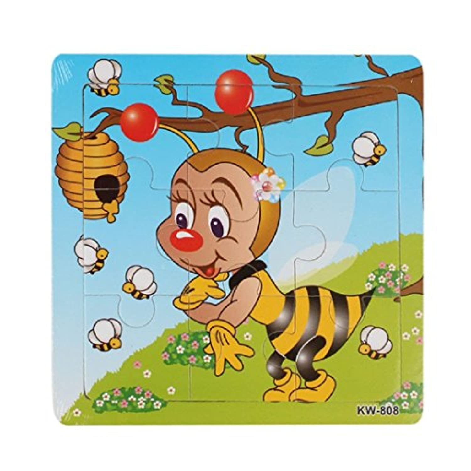 gqmart学習パズル、Lovely Bee Cartoon Wooden Jigsaw Toys For Kids教育5.8 & Quot ; x5.8 & Quot ;