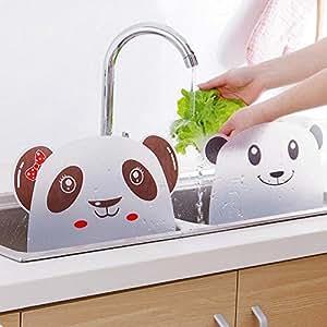 水ハネ防止ガード 吸盤式 シンク周り水はねガード パンダ模様 白熊模様 キッチン用品 (ランダム出荷)