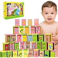 Erencook キッド ドミノ ビルディングブロック おもちゃ 子供パズル 木製ゲーム 文字番号 動物学習 早期教育玩具 男の子 女の子 クリスマスギフト