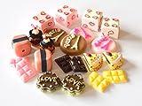 usausaのお店 福袋 レジンアート モチーフ スウィーツパターン (お菓子他) 11種類22個 ペアセット(約15mm~22mm) ケーキ・カップケーキ・パンケーキ・クッキー・チョコレート(ストロベリー・ホワイト・ビター)他 DIY材料/オーナメント/デコパーツ(B387)
