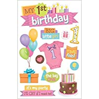 Paper House Productions STDM-208E 3D Stickers, 1st Birthday 'Girl'