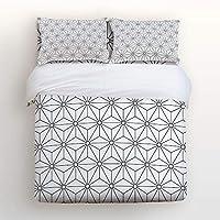EZON-CH 掛け布団カバーセット 快適な寝具セット ブラックとホワイト 幾何学模様 ソフトベッドセット 大人 十代 子供 女の子 男の子用 掛け布団カバー1枚 ベッドシーツ1枚 枕カバー2枚 Twin Size 181112WHLWHLEZONSJTSCRY01614SJTAEZN
