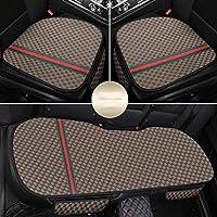 カーシートカバー、ユニバーサルリネンクッション通気性パッドカーインテリア3パックフロントリアキット。 (色 : Brown)