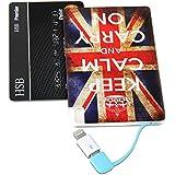 モバイルバッテリー, GMYLE 2500mAh 超薄型カードサイズUSB充電器(パワーバンク)多機種対応Lightning・Micro USBケーブル内蔵 (イギリスの国旗)