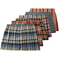 Different Touch Men's True Big and Tall USA Classic Design Plaid Woven Boxer Shorts Underwear (6 Pack)