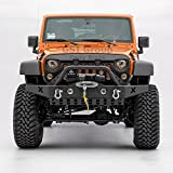 GSI Rock Crawler Front Bumper with D-Ring and Winch Plate Ready&OE Fog Lights Hole-Textured for 07-17 Jeep Wrangler JK [並行輸入品]