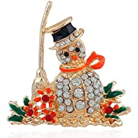 Snowman CZ Brooches for Women Men Girls Gold Tone Fashion Vintage Clear Austrian Crystal Rhinestone Brooch Pins Bow Tie Necktie Winter Costume Dress Accessories Jewelry Unisex