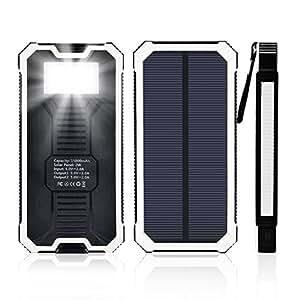 15000mAh大容量太陽光発電モバイルバッテリー 携帯充電器 ソーラーチャージャー ソーラーパネルと6つLEDライト付き iPhone/iPad/Galaxy Note/各種タブレット対応 旅行・キャンプなどアウトドアに大活躍! 地震・災害時にも必携! (白い)