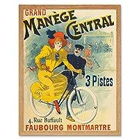 Grand Manege Central Cycles Paris Vintage Advert Art Print Framed Poster Wall Decor 12x16 inch 大パリビンテージ広告ポスター壁デコ
