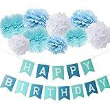 Furuix 誕生日パーティー 装飾 ペーパーポンポン セット HAPPY BIRTHDAY バナー スローガン ガーランド ターコイズ ブルー ホワイト