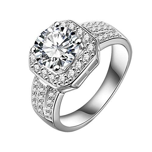 [해외]금속 알레르기 반지 약혼 반지 굵은 4.0ct 전기석 반지 | 선물 | CZ 다이아몬드 세트 8 호 | 9 호 | 11 호 | 12 호 | 13 호 | 14 호 | 15 호 | 16 호 | 18 호 | 19 호 재운 | /Metallic Allergy Compatible Yellowwell Engagement Ring Large Grain ...
