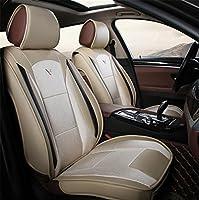 Rui車シートカバー、Leatherette +ファイバーHempシートカバー通気性5Seatsフルセット前面背面カバーフィットほとんどの車、SUV、またはvan ベージュ