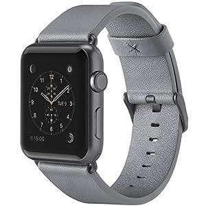 belkin Apple Watch用(シリーズ1,2,3,4) レザーバンド 42mm イタリアンレザー 牛革 グレイ [国内正規品] F8W732BTC02-A