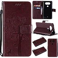 OMATENTI LG Q8 ケース 手帳型ケース ウォレット型 カード収納 ストラップ付き 高級感PUレザー 押し花木柄 落下防止 財布型 カバー LG Q8 用 Case Cover, ダークブラウン