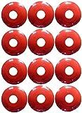 Aoakua 今までになかった コーン フラット コンパクトな ディスク マーカーコーン 全4色 12枚 セット (レッド12枚)